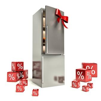 Металлический холодильник с красным бантом и подарками