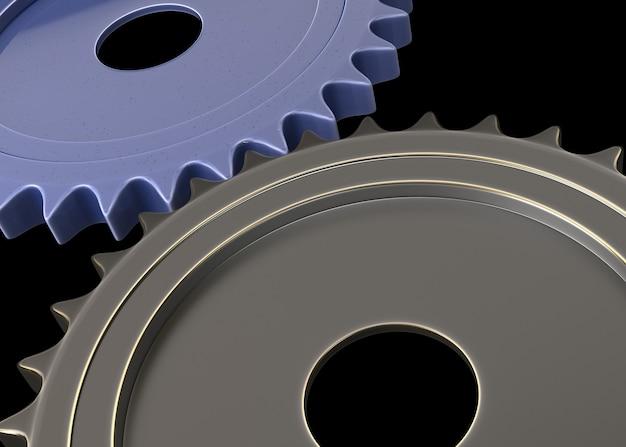 금속 기어는 3d 디자인, 팀워크 개념을 추상화합니다.