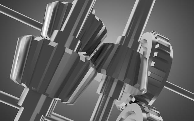 금속 기어 개념 배경입니다. 3d 그림