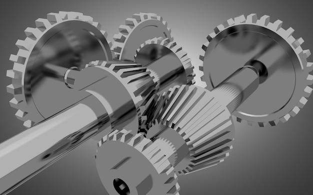 Металлические шестерни концепции фон. 3d иллюстрация