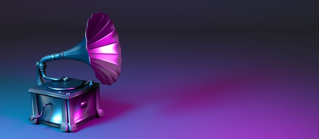 Металлический граммофон в неоновом свете, 3d иллюстрация