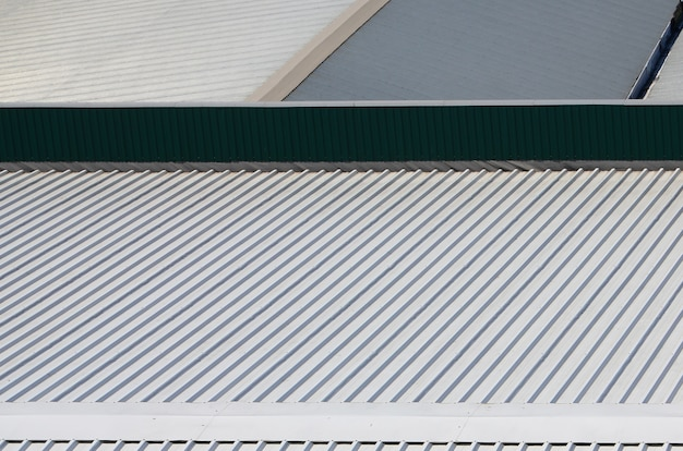 Metal gray roof with rhythmic parallel relief directions