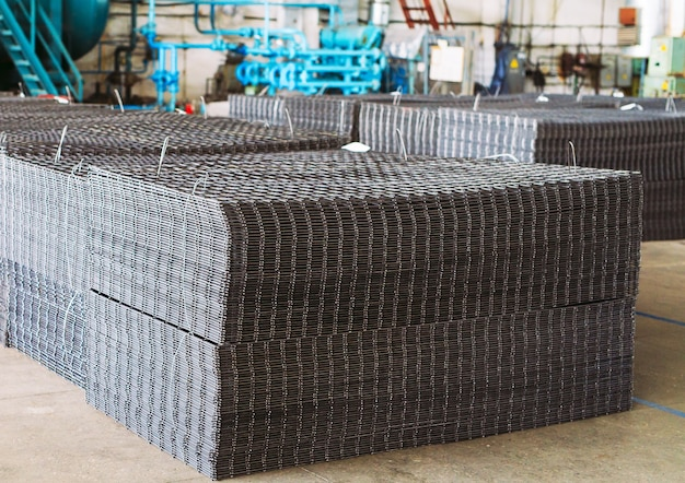 Metal grid. heavy industry production. metal rolling plant