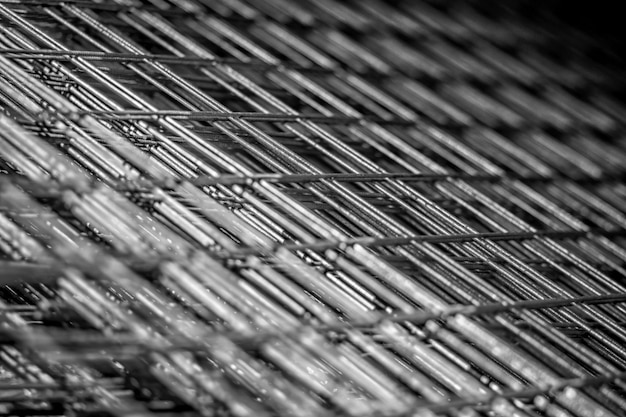 Metal grille for reinforced concrete. rebar steel mesh for concrete slab pour. close-up.