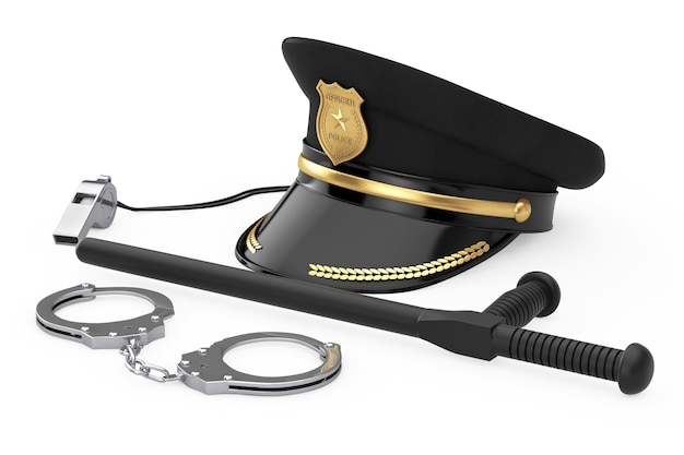 Metal handcuffs, black rubber police baton or nightstick, police whistle and police officer hat with golden badge on a white background. 3d rendering