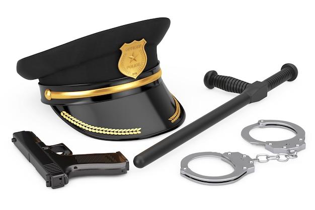 금속 수갑, 검은색 고무 경찰 지휘봉 또는 나이트스틱, 강력한 금속 경찰 권총 총, 흰색 바탕에 황금 배지가 있는 경찰관 모자. 3d 렌더링