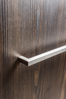 Metal handle on the cabinet door