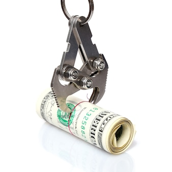 금속 후크가 미국 달러 롤을 잡습니다.