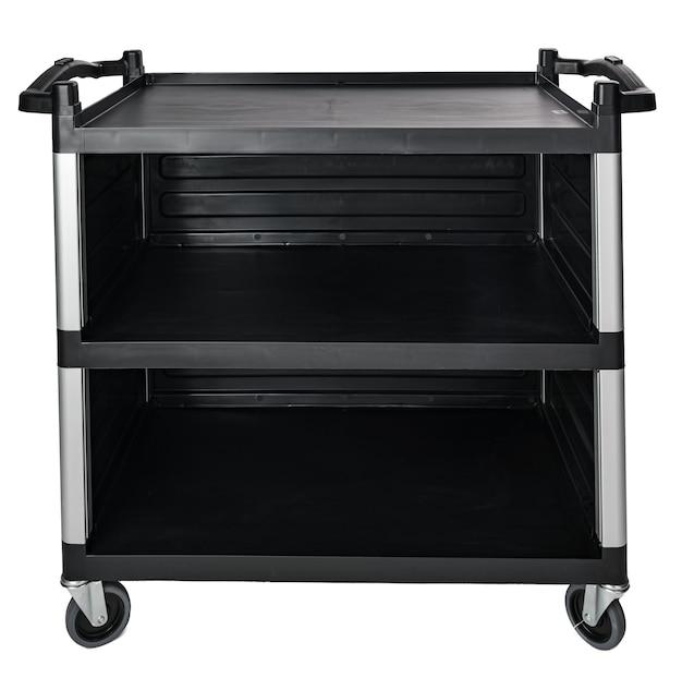 Металлическая промышленная кухонная стойка, изолированные на белом фоне, вид спереди