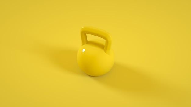 노란색 배경에 고립 된 금속 kettlebell 체육관 무게입니다. 3d 그림.