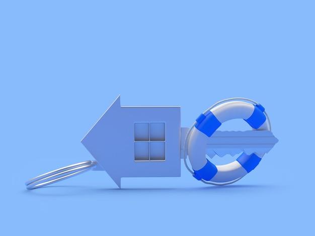 Металлический ключевой дом в спасательном круге
