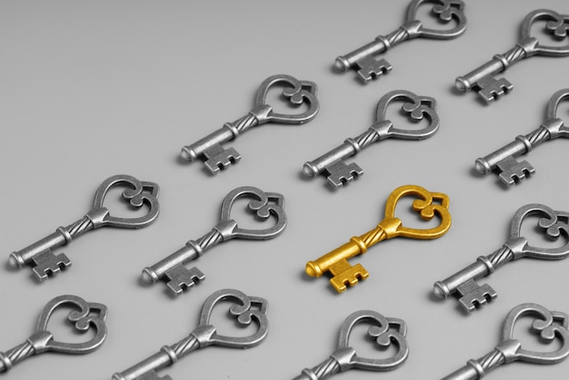Metal key for online successful business concept