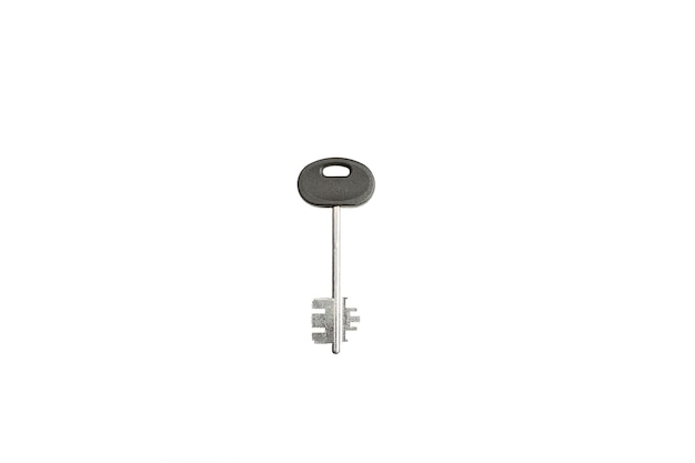 Metal key on a white background isolate.