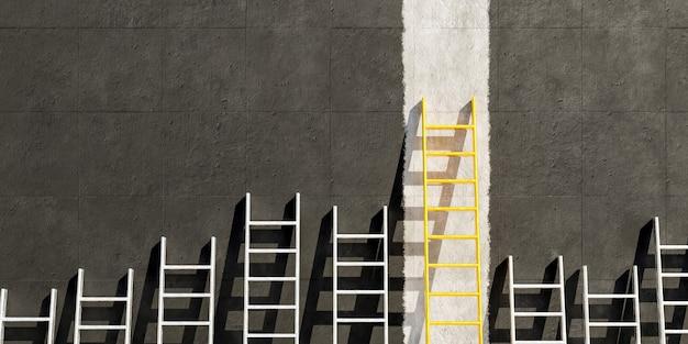 Металлические лестницы на черной бетонной стене с золотой лестницей на белой линии
