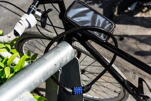 Metal lock on a bike wheel
