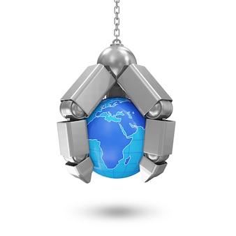 흰색 배경에 고립 된 지구 행성 금속 기계 손