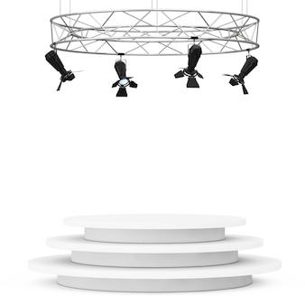Металлическая современная конструкция прожектора этапа с подиумом на белой предпосылке. 3d рендеринг