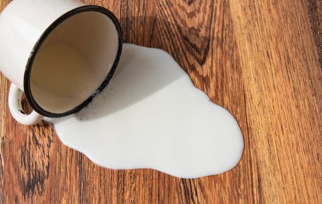 ミルク入りの金属製マグカップが床に落ち、フローリングに汚れが付いたミルクをこぼし、トラブル