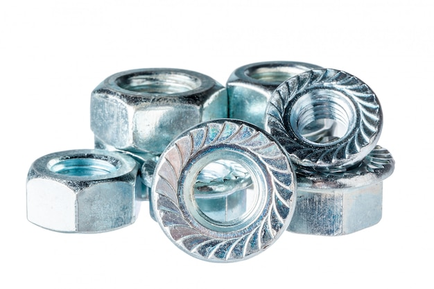 Metal nuts isolated on white