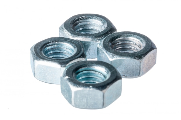 Metal nuts isolated