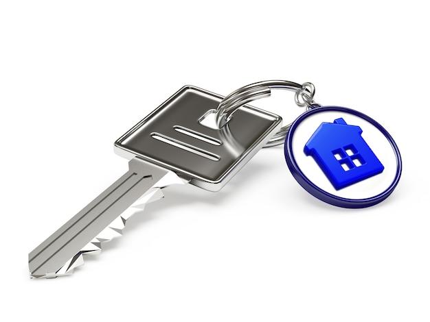 Металлический или серебряный ключ с синим брелком-домиком