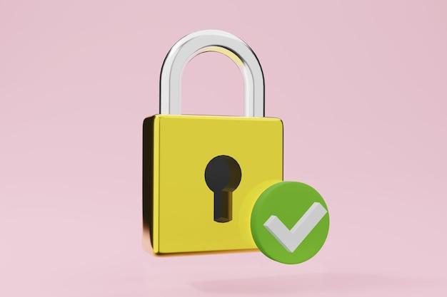 金属製の南京錠保護記号。ゴールデンロック3dイラスト。