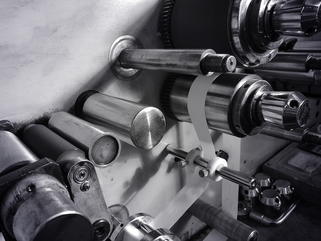 Metal part. gears in a car engine. concept - creation of parts for production machines. mechanical gearbox. concept - car parts close-up. car engine manufacturing. motor close-up.