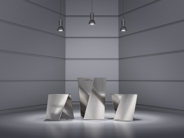 Metal pedestals design for product showing with light spot on space.