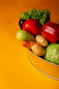 Metal pelvis with fresh vegetables. concept of eco-friendly farm products