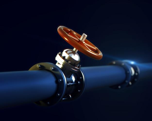 Металлический трубопровод с клапаном и красным маховиком