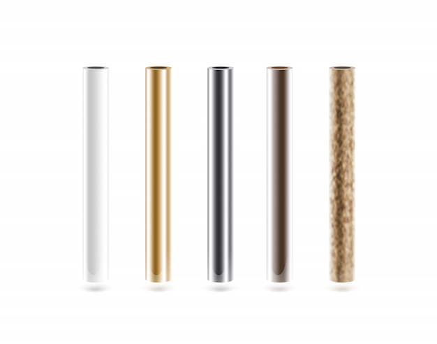 Metal pipes set isolated