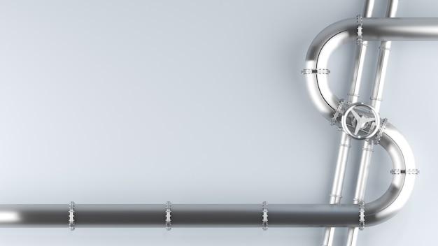 위기 3d 그림에서 달러 석유 경제의 모양에 밸브 개념을 가진 금속 파이프