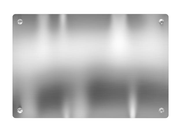 Металлическая пластина с винтами. на белом фоне. 3d визуализация.