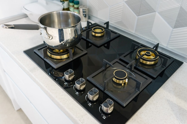 Metal pot on induction hob in modern kitchen