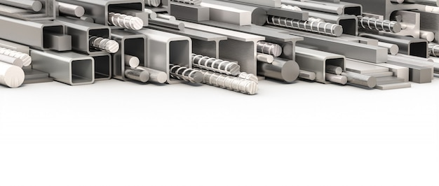 Metal profiles of different types and sections.