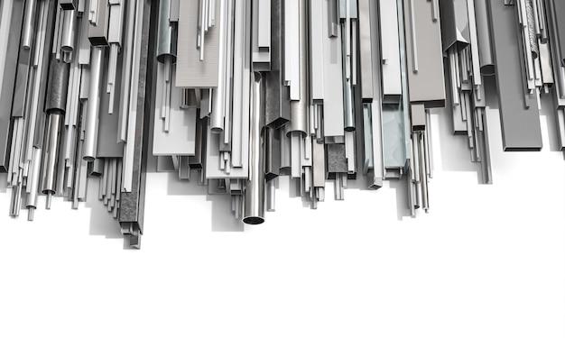 Металлические профили разной формы на белом фоне. 3d визуализация.