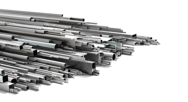 Metal profiles of various shapes and sizes on a white background. 3d render