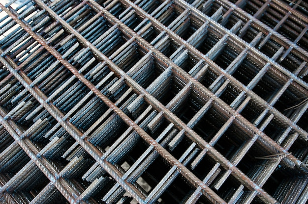 Metal reinforced mesh on construction site in winter