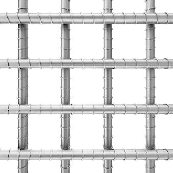 白い背景の溶接金網としての金属鉄筋。 3dレンダリング。
