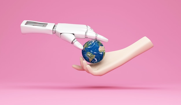 Metal robotic hand and human hand holding miniature earth planet on pink