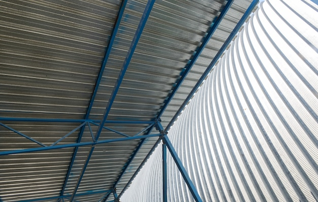 Metal roof construction of an industrial facility, inside view
