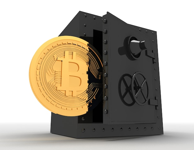 Металлический сейф и биткойн. 3d визуализированная иллюстрация