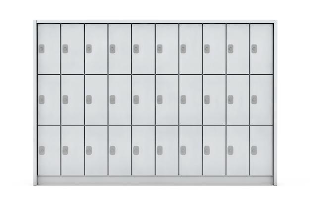 白い背景の上の荷物のための金属の安全ロッカー。 3dレンダリング