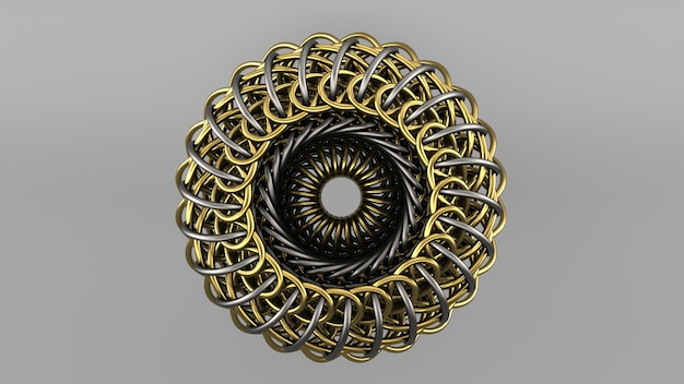 Металлический профиль из запутанных проволок. яркие неоновые провода. крупный план. современные геометрические 3d визуализации