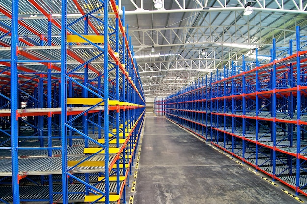 Metal shelving in the warehouse