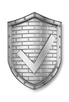 Metal shield with a check mark. 3d render
