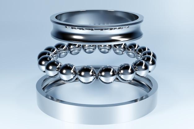 Metal silver disassembled ball bearing