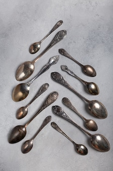 Metal spoons in the form of a christmas tree