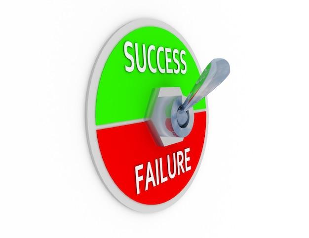성공과 실패가 있는 금속 토글 스위치