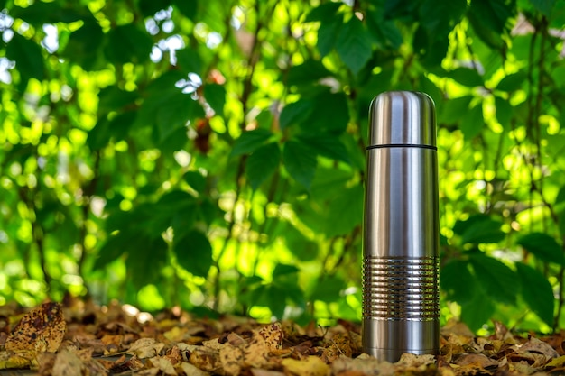 A metal tourist thermos for drinks stands among the yellow crumbling autumn leaves against the background of large leaves of wild grapes, illuminated by the rays of the sun.